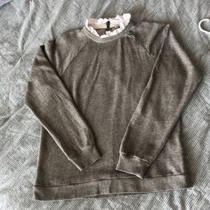 J Crew Ruffled Collar Sweatshirt Women's XL